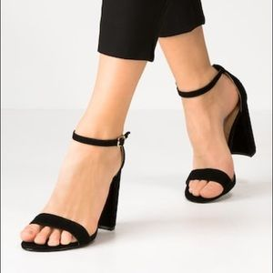 Steve Madden Carrson Black Suede Ankle Strap Heels